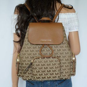 Michael Kors Abbey L Cargo Backpack MK Beige Brown